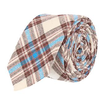 Andrews & co. narrow tie Club tie beige Tartan