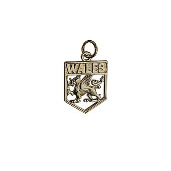 9ct Gold 18x15mm Wales Badge Pendant or Charm