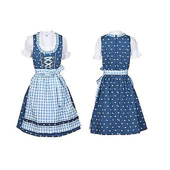 Children Dirndl children dress with apron and blouse blue