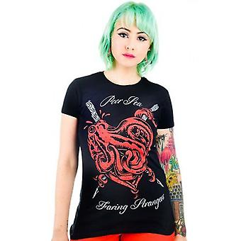 Too Fast Womens Poor Sea Faring Stranger Black Red Tshirt Heart Tentacles