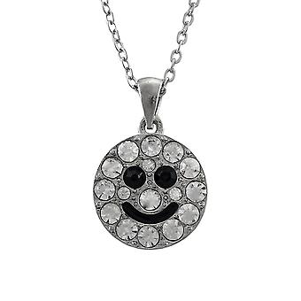 Silver Tone Rhinestone Smiley Face Necklace 18 In.