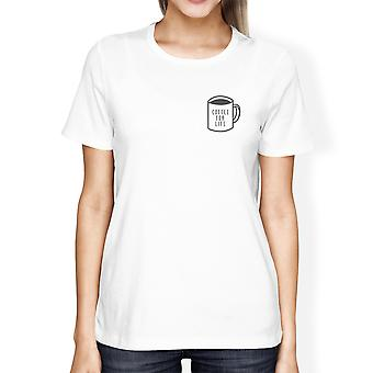 Coffee For Life Pocket Girls White Tops Funny Typographic Tee
