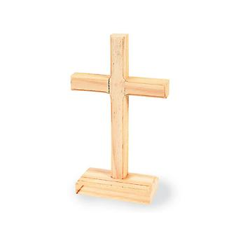 12 Wooden Christian Cross Shapes on Stands to Decorate