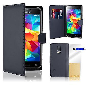 Bogen tegnebog PU læder case cover til Samsung Galaxy S5 mini SM-G800 + stylus - marineblå