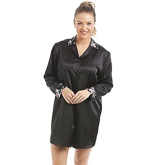 Camille Luxury Black Floral Satin Nightshirt