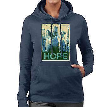 Hope Fishing Shepherd Fairey Style Big Fish Women's Hooded Sweatshirt