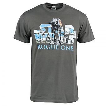 حرب النجوم حرب النجوم رجالي المارقة شعار تي AT-AT واحد قميص رمادي