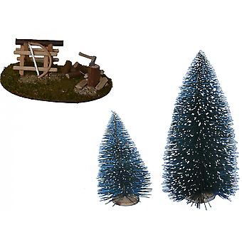 Hack space with saw and fir trees for Nativity stable Nativity accessories