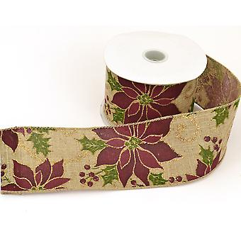 Natural Hessian Wired Ribbon Christmas Poinsettia - 60mm x 10M