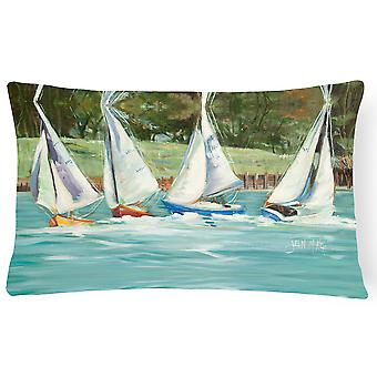 Sailboats on the bay Canvas Fabric Decorative Pillow