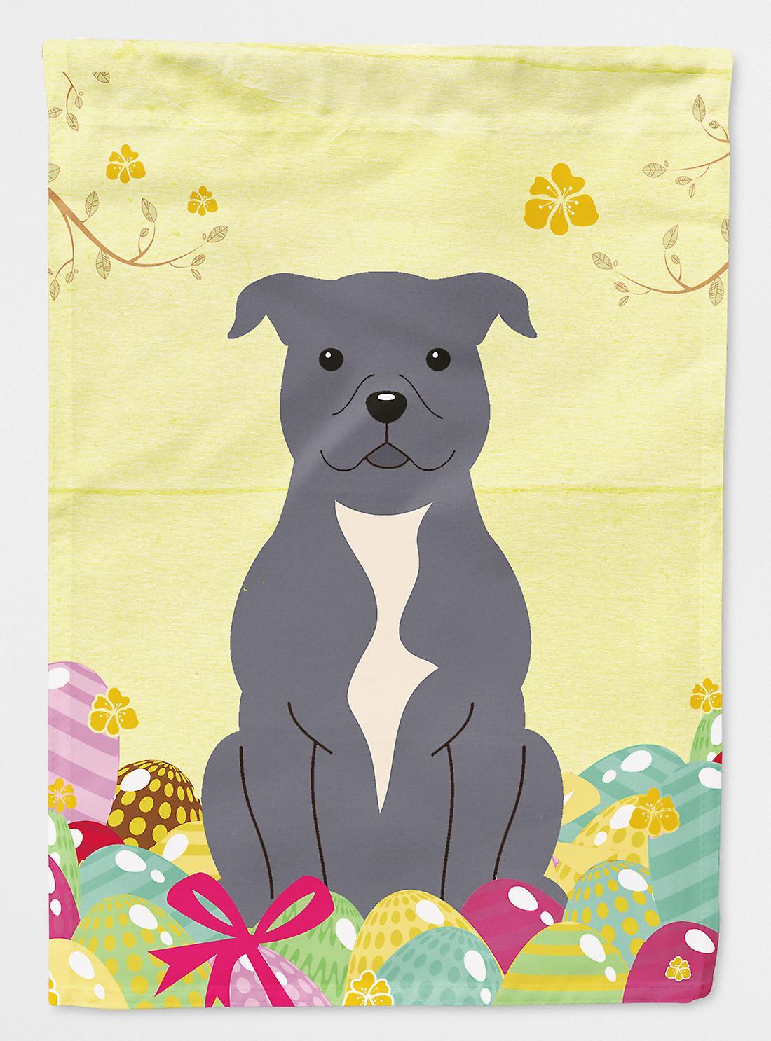 Oeufs de Pâques Staffordshire Bull Terrier drapeau bleu toile Taille de maison