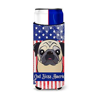 God Bless American Flag with Fawn Pug Michelob Ultra beverage Insulator for slim