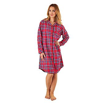 Slenderella NS8230 Women's Red Tartan Cotton Sleep Shirt Long Sleeve Nightshirt