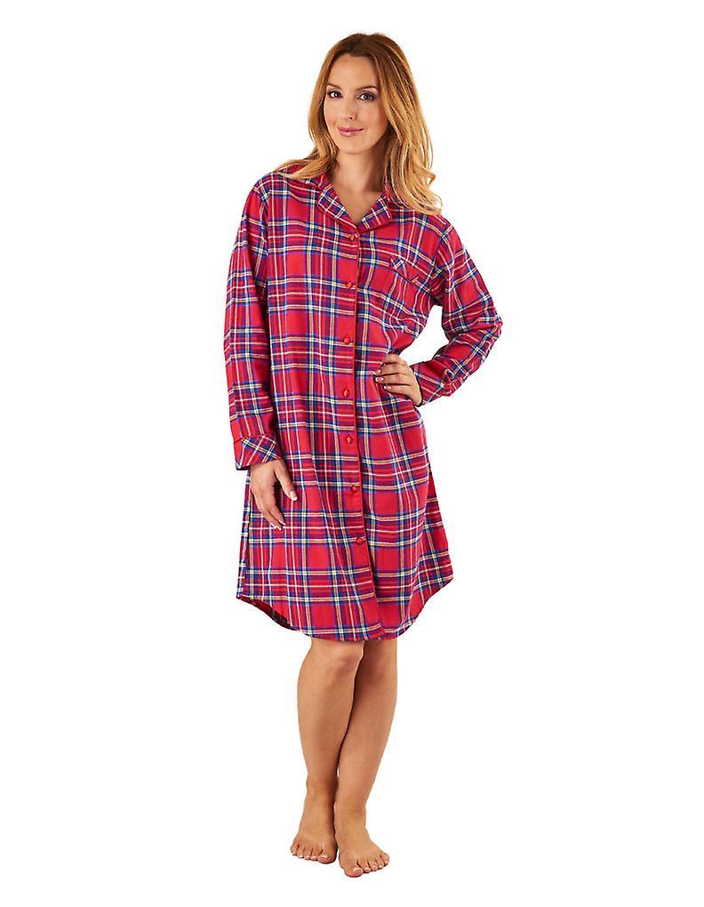 Tartan rouge coton sommeil Shirt hommeches longues chemise de nuit Slenderella NS8230 féminines