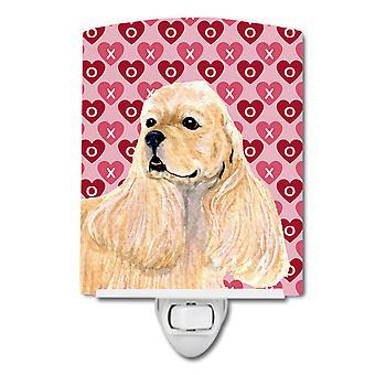 Buff Cocker Spaniel Hearts Love Valentine's Day Ceramic Night Light
