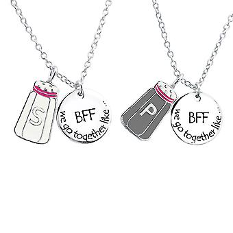 Salt And Pepper And Bff Round - 925 Sterling Silver Necklaces - W25996X