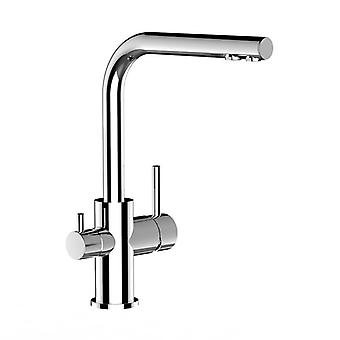 The three-way faucet with swivel spout chrome kitchen for use with filter