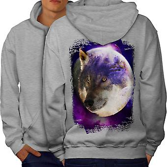 Moon Animal Wolf Men GreyHoodie Back | Wellcoda