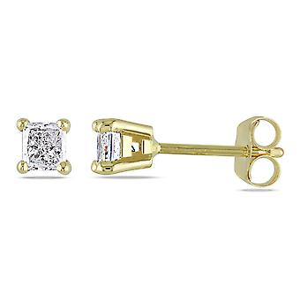 Princess Cut Diamond Solitaire Stud Earrings 1/2 Carat (Clarity I1-I2 Color H-I ctw) in 14K Yellow Gold