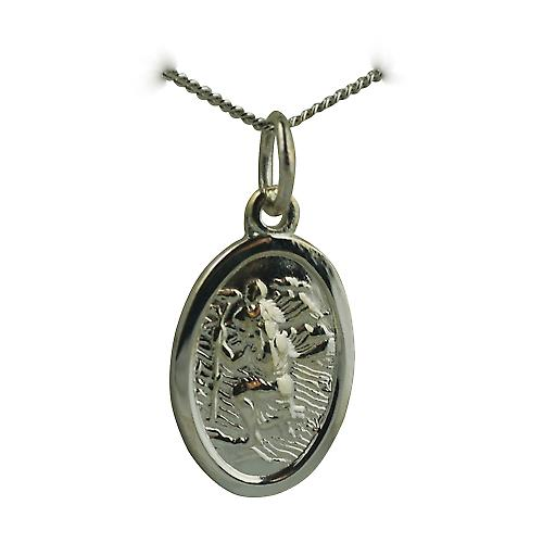 9ct White Gold 17x11mm oval St Christopher Pendant with a curb Chain 16 inches Only Suitable for Children