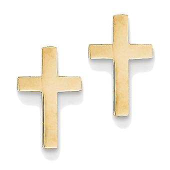 14k Yellow Gold Latin Cross Stud Earrings