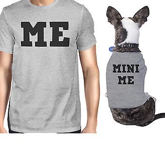 Mini mig lille hund og ejer matchende trøjer grå hund mor far gaver
