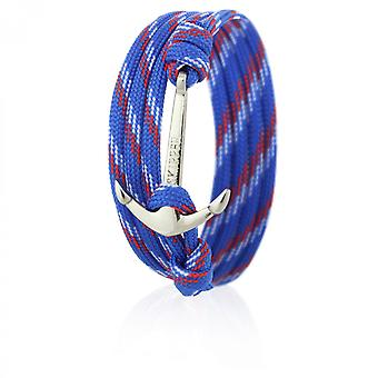 Skipper anchor bracelet wristband in blue/red/white nylon with silver anchor 6649