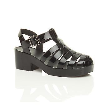 Ajvani womens lage mid blok hiel rubber gelei gladiator uitgesneden retro sandalen schoenen