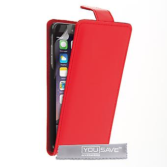 iPhone 6 Plus Leather-Effect Flip Case - Red