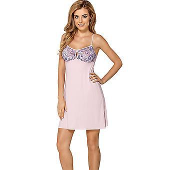 Nipplex VAL-ROZ-KOS Women's Valentina Pink Floral Lace Babydoll Slip Sleepwear Chemise