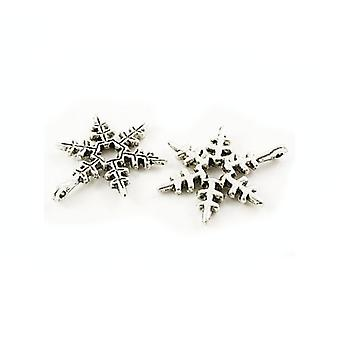 Packet 10 x Antique Silver Tibetan 24mm Snowflake Charm/Pendant ZX07300