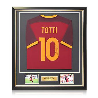 Francesco Totti Signed AS Roma 2015-16 Nike Home Shirt In Deluxe Black Frame With Gold Inlay