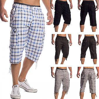 Stretchy checkered shorts stretch waistband stretch shorts cargo men's Cargoshorts