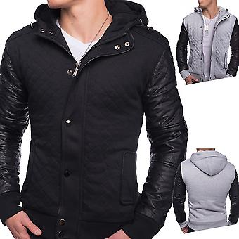 Men Winter College lined leather sleeves hooded Ontario Black Grey