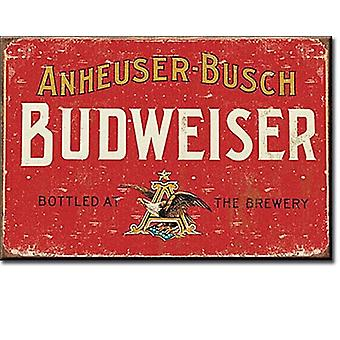 Budweiser Weathered Red Label Steel Fridge Magnet