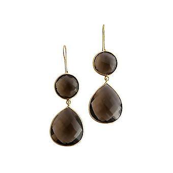 Gemshine - CANDY - Røykkvarts - brun - gullbelagt damer - øredobber - 925 sølv - slipp - 6 cm