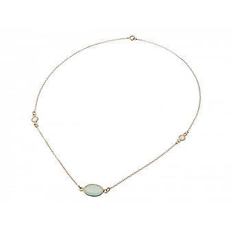 Damen - Halskette - 925 Silber Vergoldet - Chalcedon - Mondstein - Meeresgrün - Weiss - 45 cm