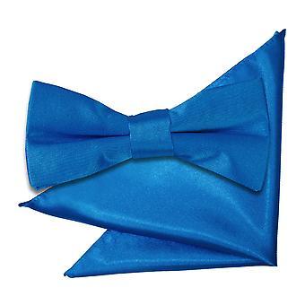 Electric Blue Plain Satin Bow Tie & Pocket Square Set for Boys