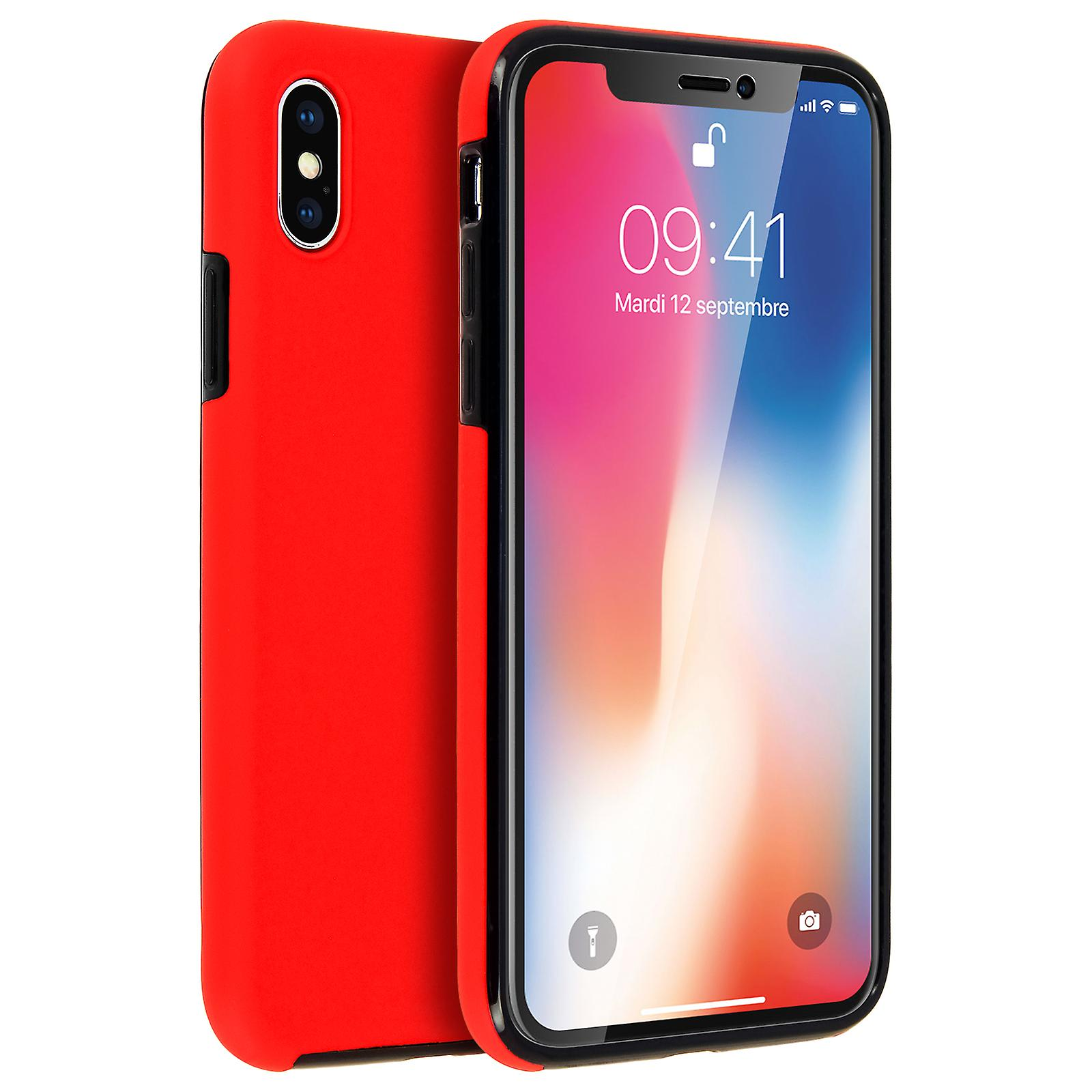 low cost dd4e1 f7527 Silicone case + back cover in polycarbonate for Apple iPhone X - Red
