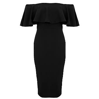 Ladies Bardot Off Shoulder Stretch Frill Split Back Bodycon Pencil Midi Dress