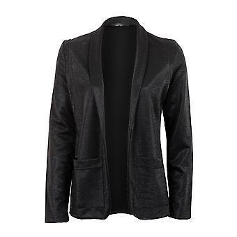 Señoras chaqueta de manga chaqueta delantera abierto brillante Lurex negro las mujeres de largo