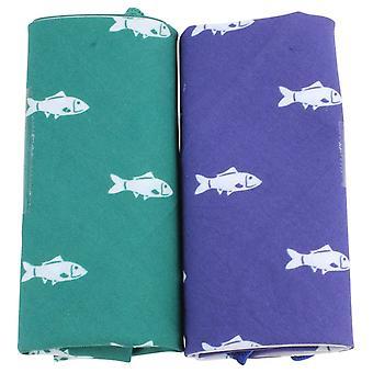 David Van Hagen nieuwigheid vis zakdoek Set - groen/blauw