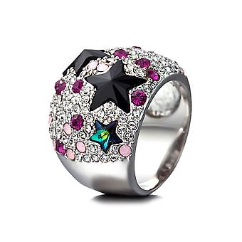 Dome Stars ring adorned with Swarovski Rose crystal and Rhodium plate