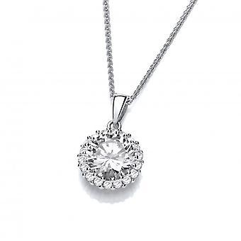 Cavendish francese Shine Bright come un diamante argento e CZ ciondolo con catena d'argento di 16-18