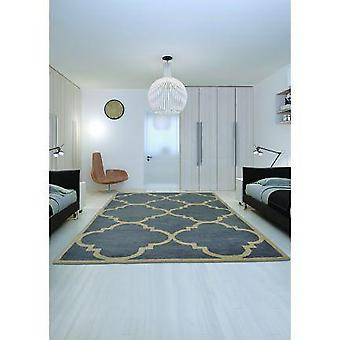 Hand Tufted Wool Rug (blue Flora Design)