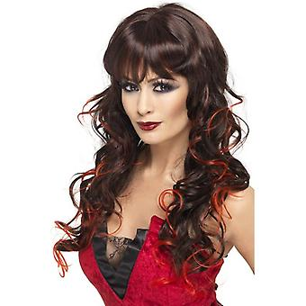 Long Brown Curly Wig, Vixen Wig, Black and Red Halloween Accessory