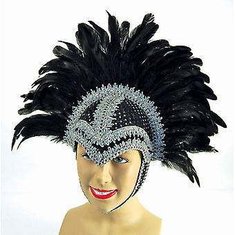 Feather Helmet Black Braiding/Plume.