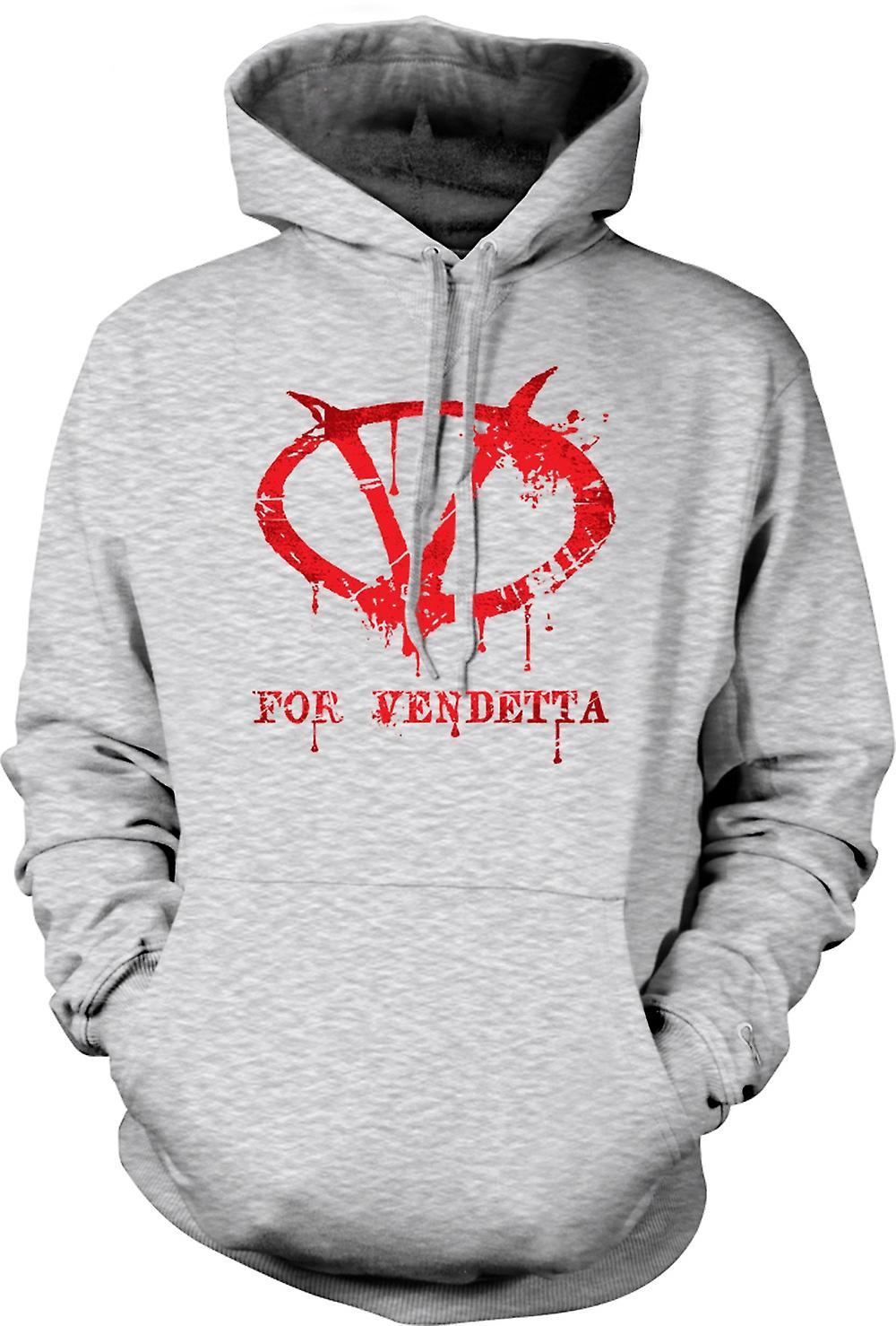 Mens Hoodie - V For Vendetta - Graffiti Logo