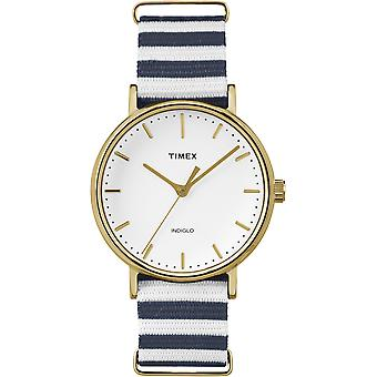 Placcato oro Timex Weekend Multi tessuto Strap Watch Unisex TW2P91900 37mm