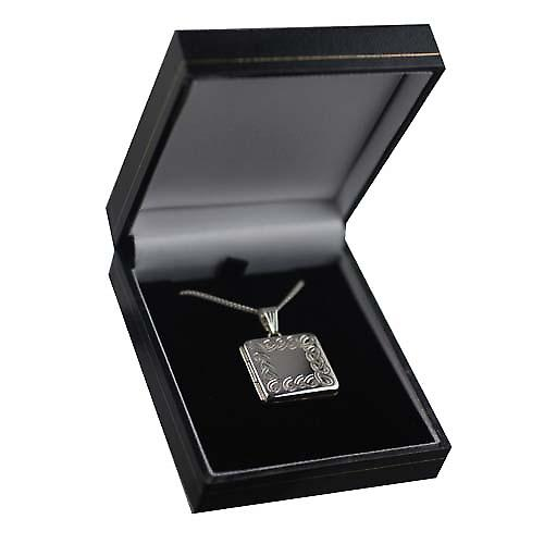 Silver 22mm Celtic engraved flat square Locket with a curb Chain 24 inches